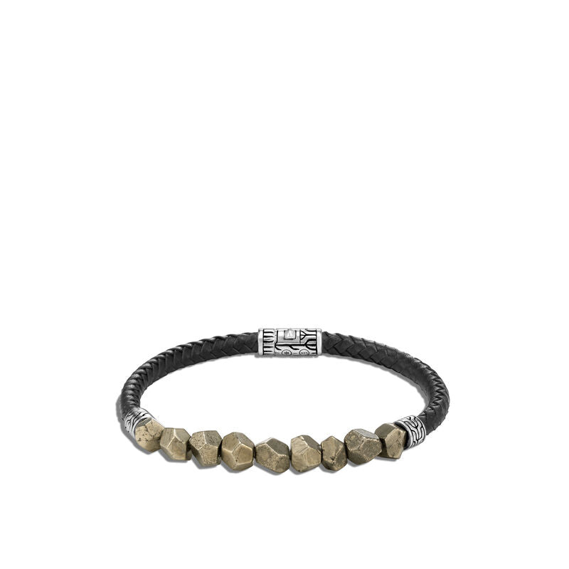Classic Chain Station Bracelet, Pyrite, Leather