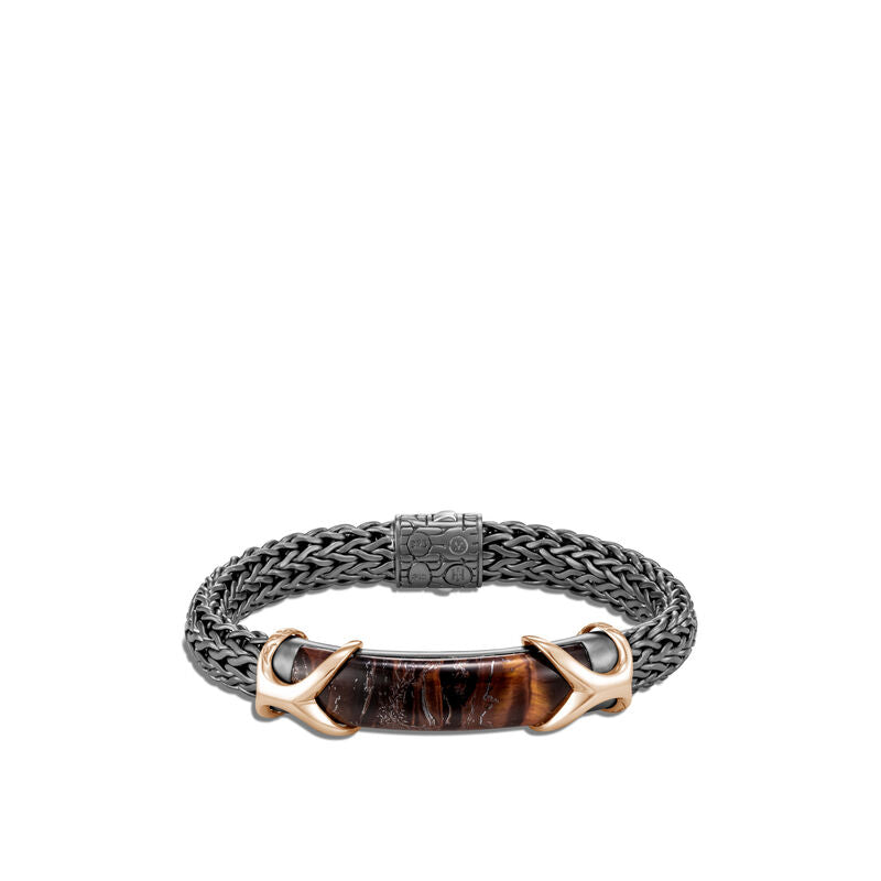 Asli Classic Chain Link Station Bracelet, Red Tiger Iron
