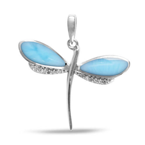 Larimar Petite Dragonfly Pendant/Necklace With White Sapphire
