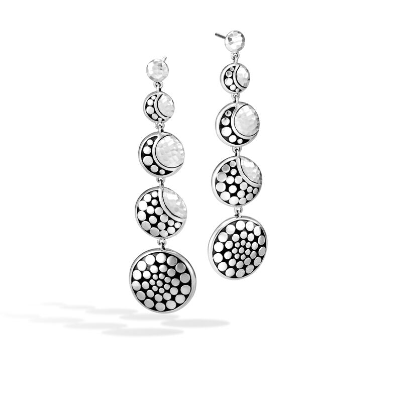 Moon Phase Hammered Drop Earring