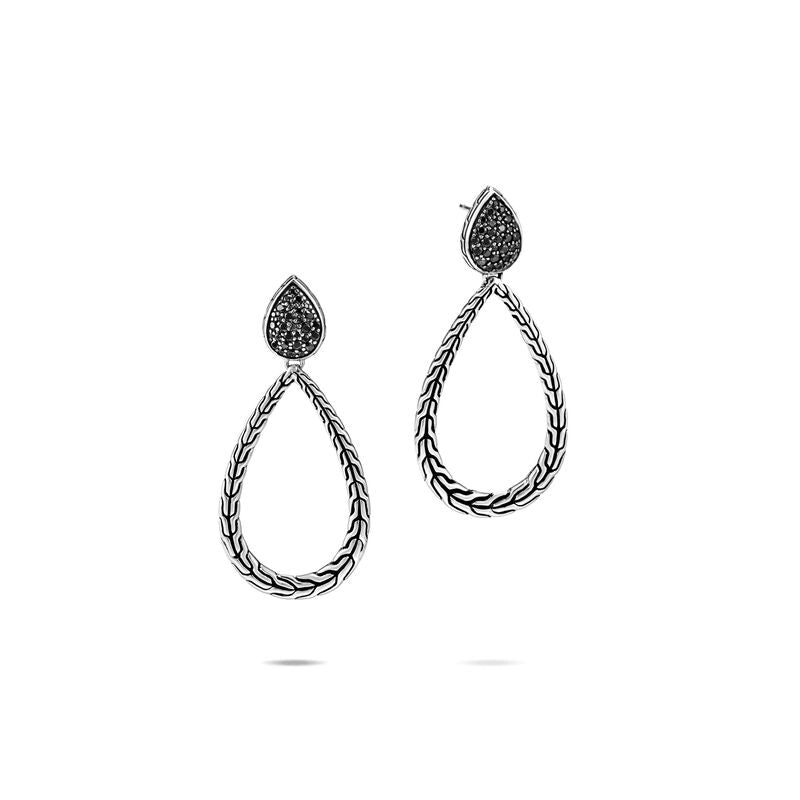 Classic Chain Drop Earring, Black Sapphire, Spinel