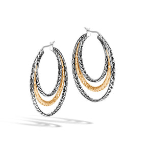 Classic Chain Hammered Medium Hoop Earring
