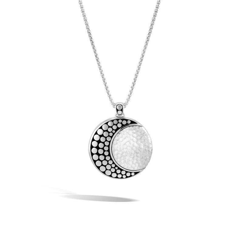 Moon Phase Hammered Pendant Necklace