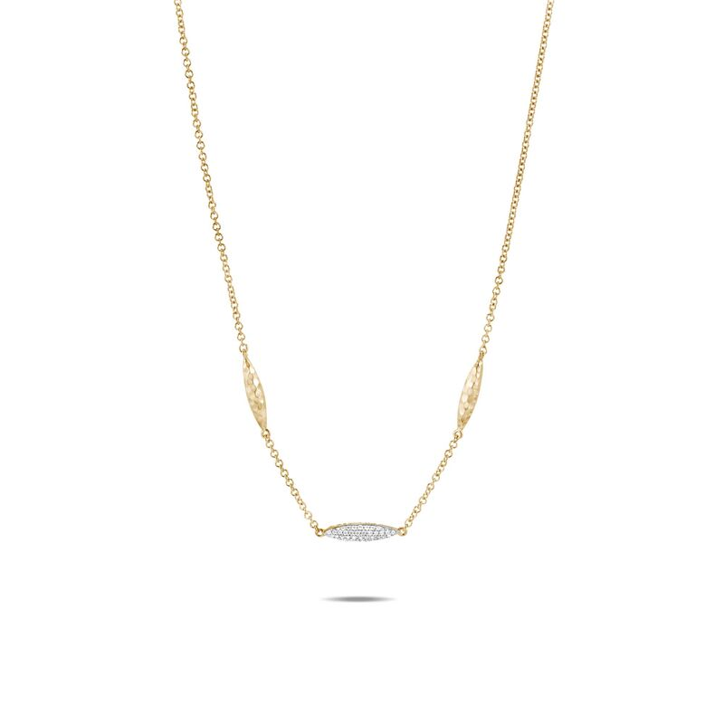 Classic Chain Hammered Spear Long Necklace, Diamonds