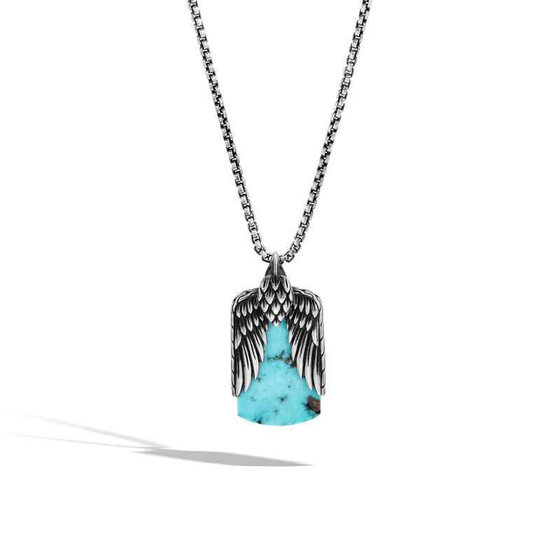 Eagle Dog Tag Necklace with Turquoise