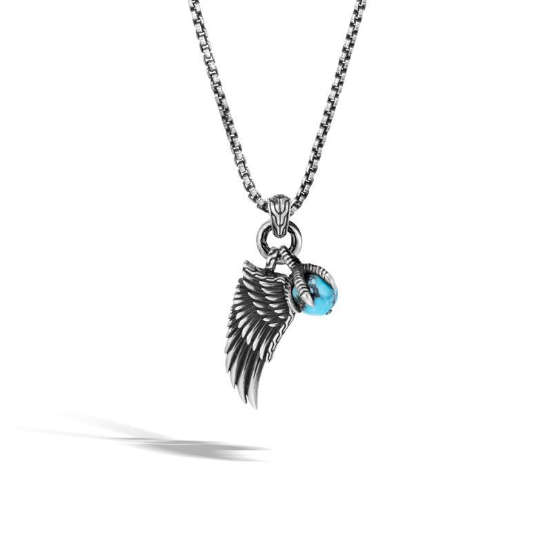 Eagle Wing Charm Necklace with Turquoise