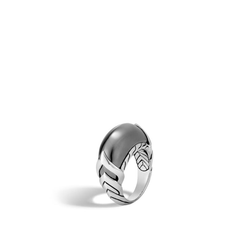 Naga Ring in Silver with Hematite