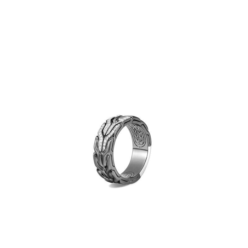 Classic Chain Blackened Band Ring, Diamonds