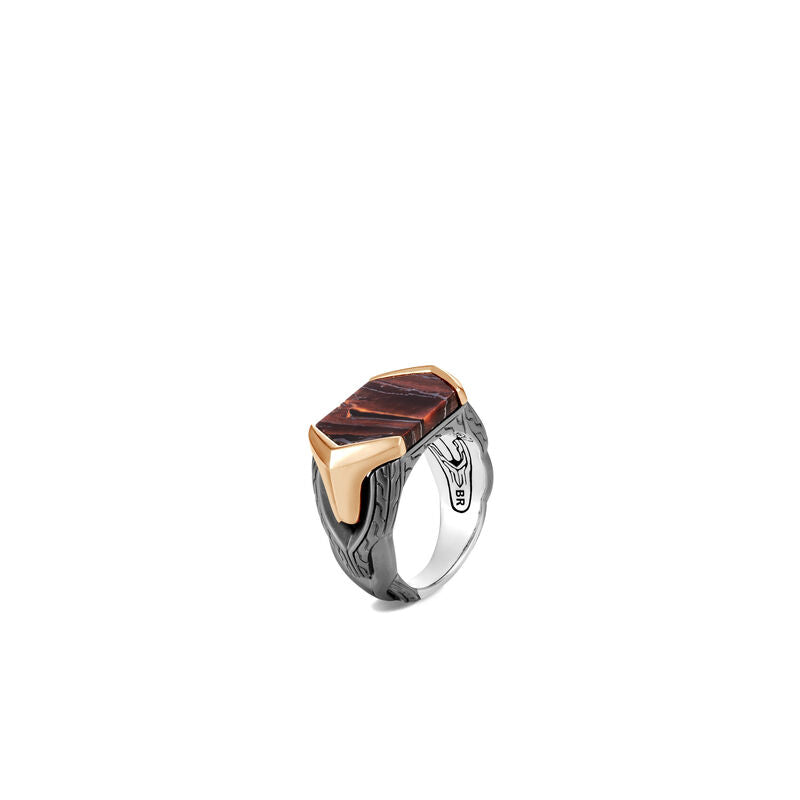 Asli Classic Chain Signet Ring with Red Tiger Iron