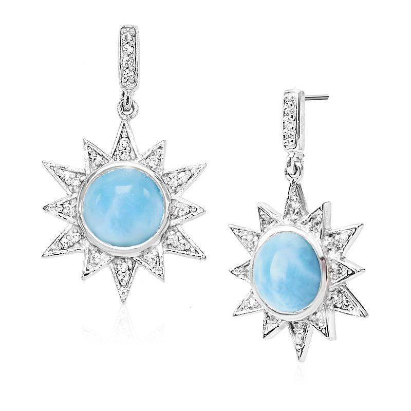 Solstice Larimar Earrings With White Sapphire