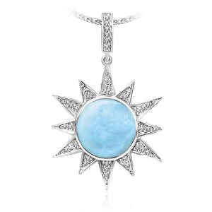 MarahLago Solstice Larimar Pendant/Necklace With White Sapphire