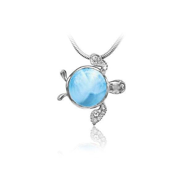 Larimar Sea Turtle Necklace With White Sapphire