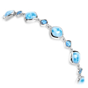 Atlantic Cushion Larimar Bracelet With Blue Spinel - Great For Smaller Wrists!