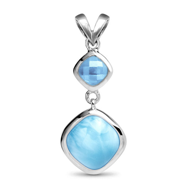 Atlantic Cushion Larimar Pendant/Necklace With Blue Spinel