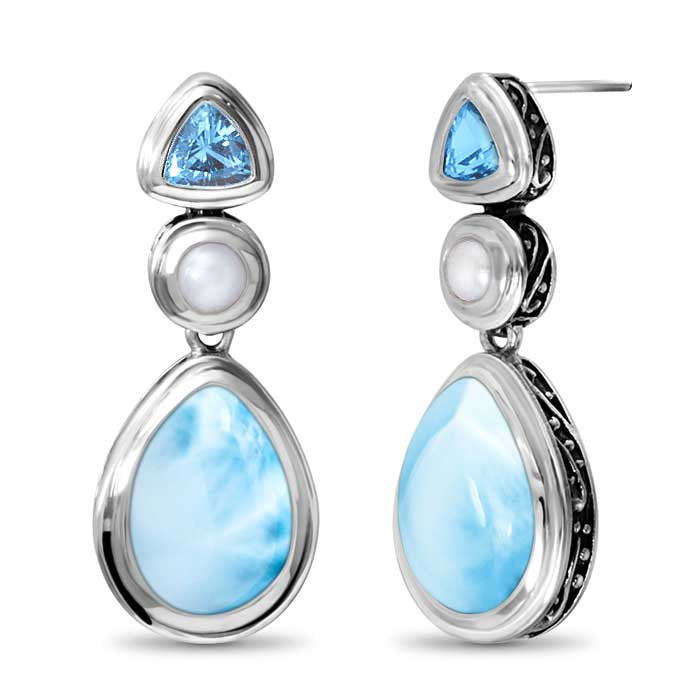 Azure Pear Larimar Earrings With Blue Topaz & Pearl