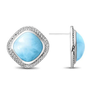 Clarity Cushion Cut Larimar Earrings With White Sapphire