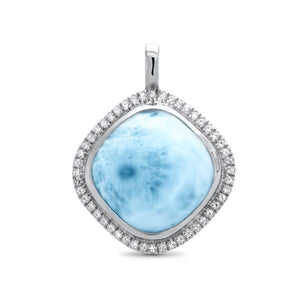 Clarity Cushion Cut Larimar Necklace With White Sapphire