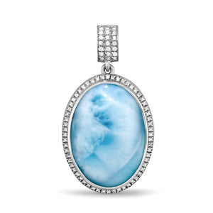 Clarity Oval Large Larimar Necklace With White Sapphire