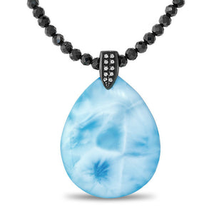 Galaxy Large Larimar Necklace With Black Spinel