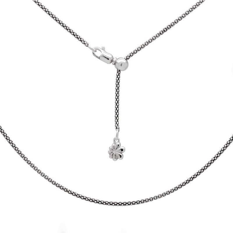 Sterling Silver Adjustable Popcorn Chain - Up To 21