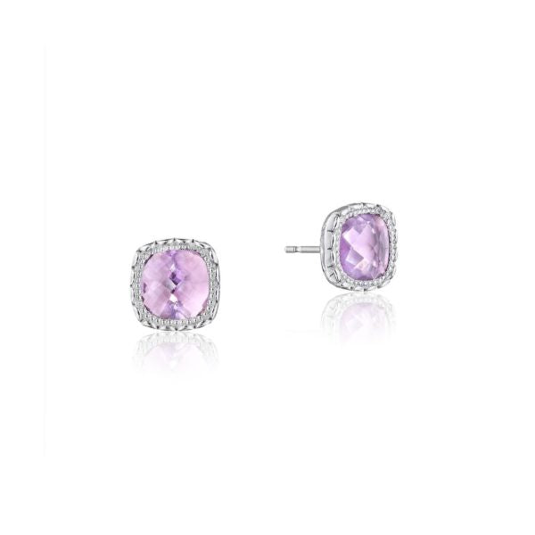 Cushion Gem Earrings with Rose Amethyst