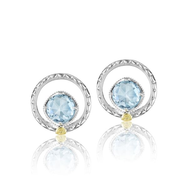 Silver Bloom Gem Studs featuring Sky Blue Topaz