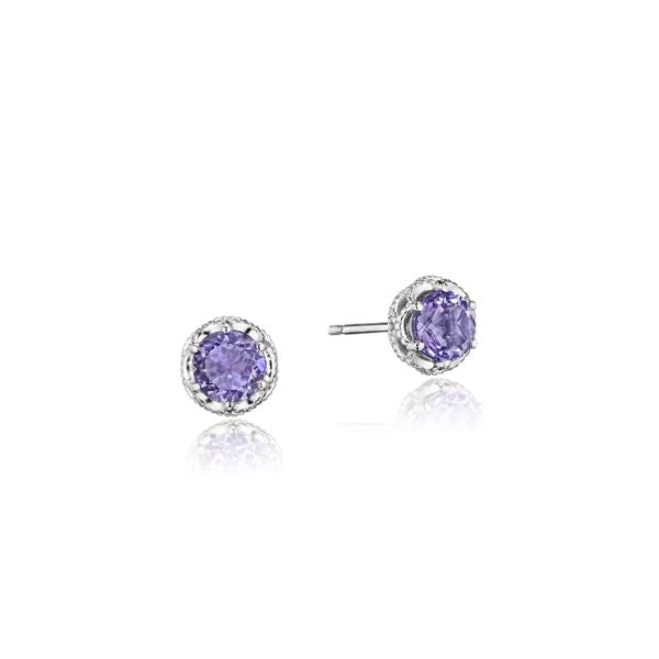 Petite Crescent Crown Studs featuring Amethyst