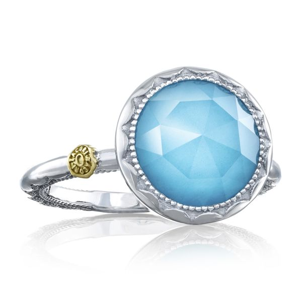 Crescent Bezel Ring featuring Clear Quartz over Neolite Turquoise