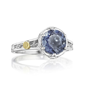 Petite Crescent Gem Ring featuring London Blue Topaz