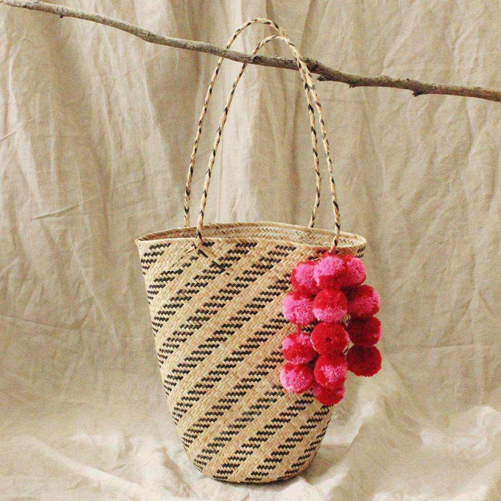 Borneo Love Rush Striped - Handwoven Straw Tote