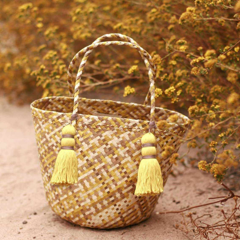 Coco Palm Straw Bag - Lemonade-Totes & Beach Bags-BrunnaCo-Ethical Chick