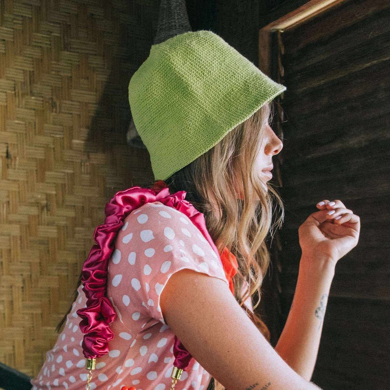 FLORETTE Crochet Bucket Hat, in Lime Green-Hats-BrunnaCo-Ethical Chick