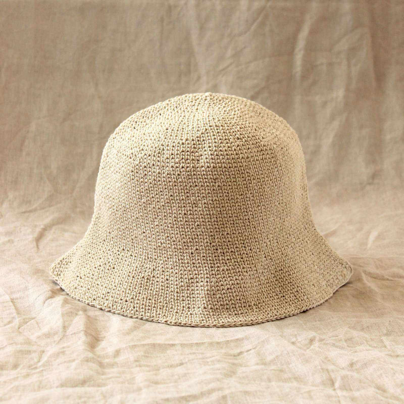 FLORETTE Crochet Bucket Hat, in Nude White-Hats-BrunnaCo-Ethical Chick