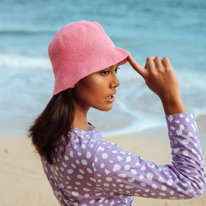 FLORETTE Crochet Bucket Hat, in Pink-Hats-BrunnaCo-Ethical Chick