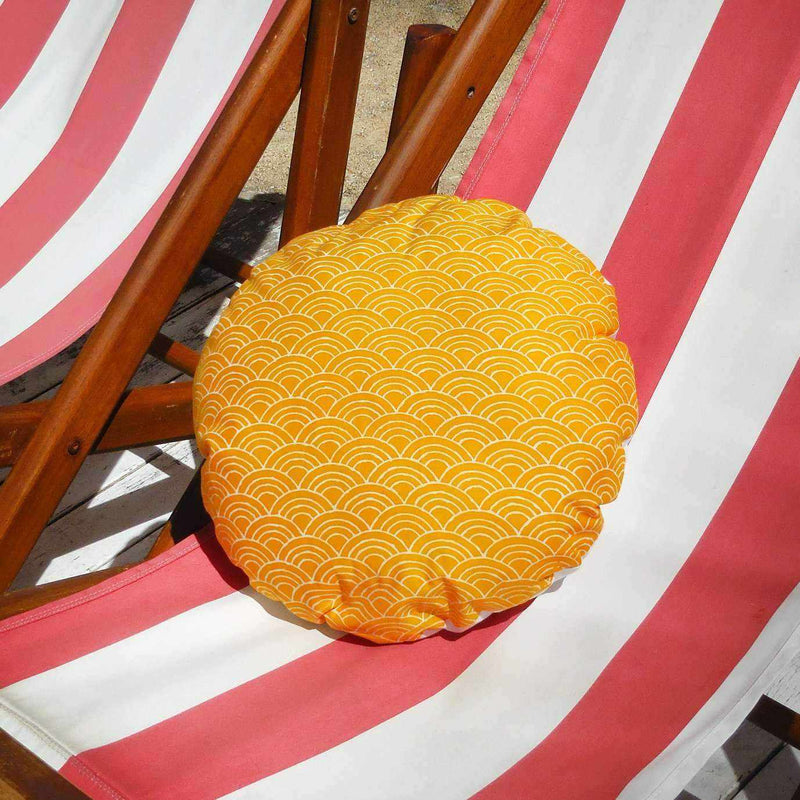 Sunny Wave Round Batik Decorative Round Pillow-Totes & Beach Bags-BrunnaCo-Ethical Chick