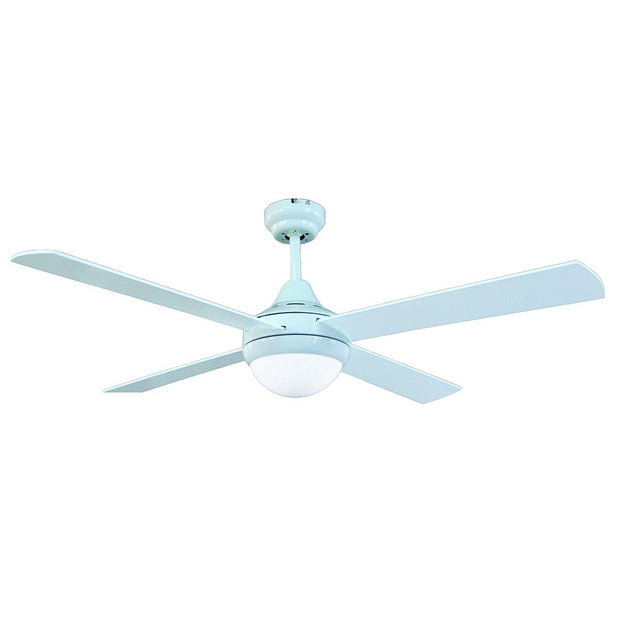 Tempo 48 Ceiling Fan White with E27 Light - Lighting Superstore