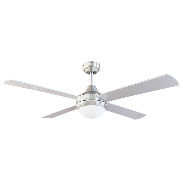 Tempo 48 Ceiling Fan Brushed Chrome with E27 Light - Lighting Superstore