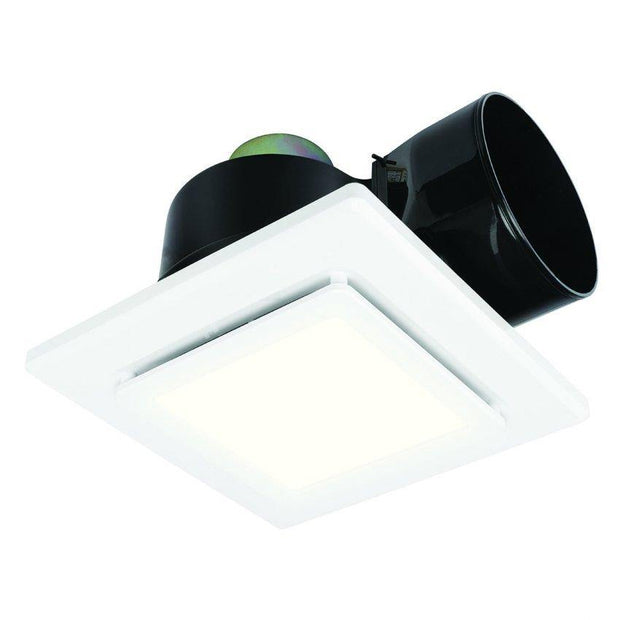 Sarico Square Exhaust Fan with LED Light White - Small - Lighting Superstore