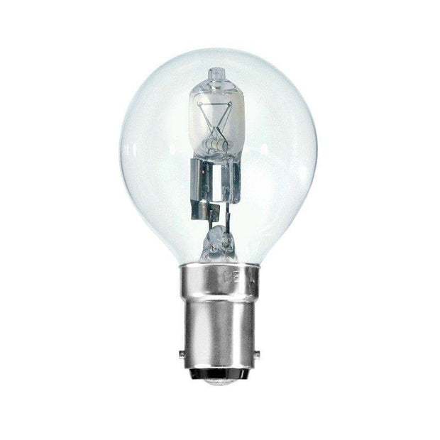18w = 25w Small Bayonet (SBC) Clear Fancy Round Energy Saving Halogen - Lighting Superstore