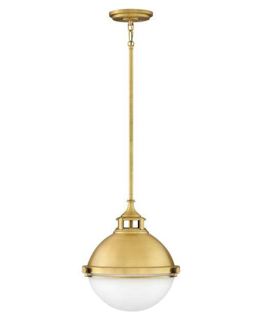 "Fletcher Satin Brass with Opal Glass Small 13"" Pendant Hinkley - Lighting Superstore"