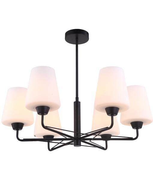 Abbey 6 Light Pendant Matt Black - Lighting Superstore