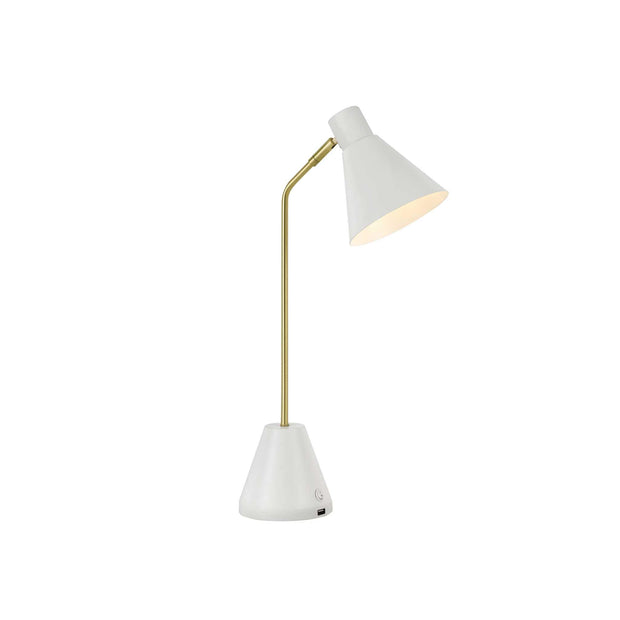 Ambia Table Lamp White with USB - Lighting Superstore
