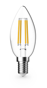 4.8w Small Edison Screw (SES) LED Warm White Dimmable Filament Candle - Lighting Superstore