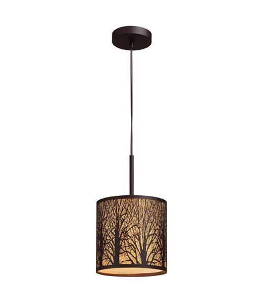 Autumn Small Aged Bronze Pendant Light with Amber Lining