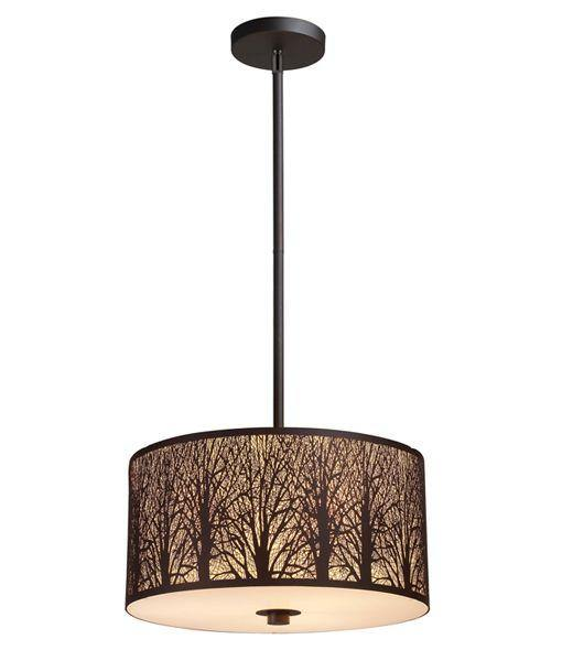 Autumn Large Aged Bronze Pendant Light with Amber Lining