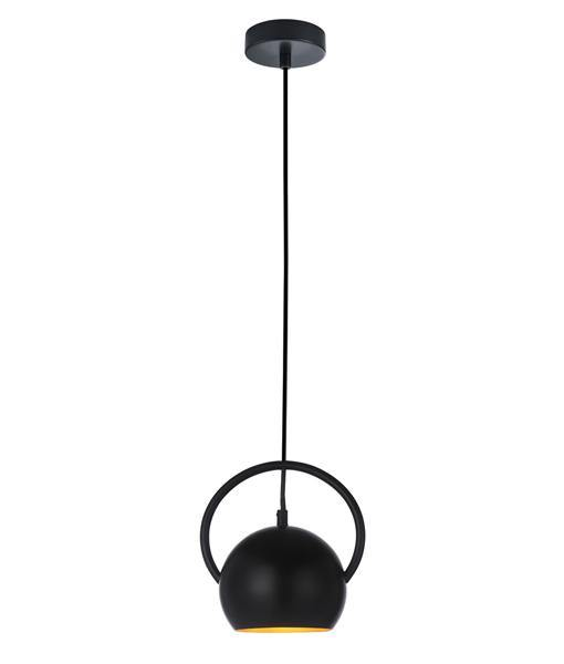 Bella Pendant Light Black with Gold Inside