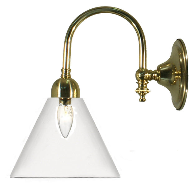 Loxton Wall Light Brass Cone - Clear