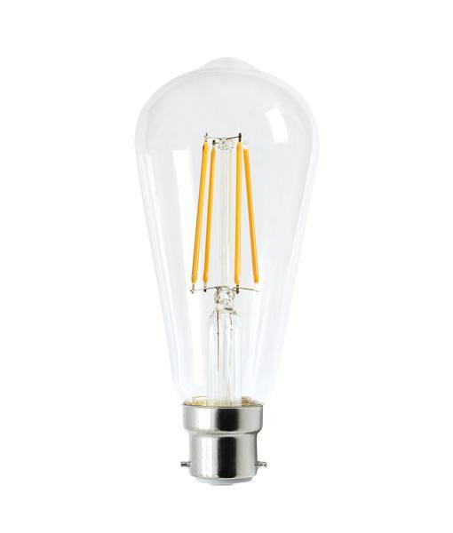 8w Bayonet (BC) Carbon Filament LED Pear Daylight - Lighting Superstore