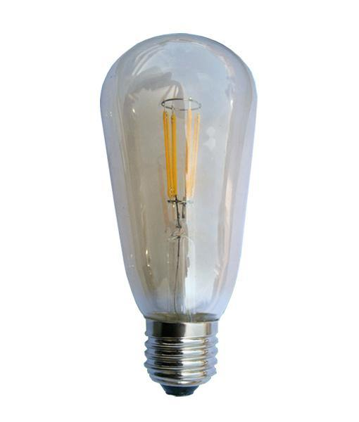 4w Edison Screw (ES) Amber Glass Carbon Filament LED Pear Warm White - Lighting Superstore