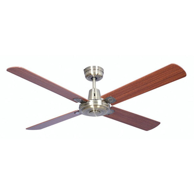 Swift 52 Ceiling Fan Antique Brass and Timber Walnut